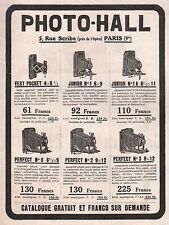 Publicité Photo- Hall  appareil photo vest pocket Junior Perfect  ad  1919