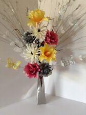 Artificial Silk Flower Arrangement Silver & White/Yellow  In Slim Silver Vase