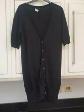 Ladies Oasis Black Longer Length Short Sleeve Boyfriend Style Cardigan 12