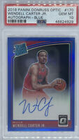 ROOKIE 2018-19 Wendell Carter Jr. OPTIC Blue Rated Rookie Auto #/49 PSA 10
