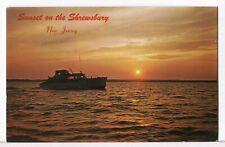 1960 - A Cabin Cruiser at Sunset on the Shrewsbury River NJ Boats Postcard