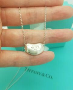 "Authentic Tiffany & Co. Elsa Peretti LARGE Bean 16"" Silver Necklace, UK Hallmark"