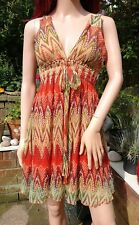 TRAFFIC PEOPLE Designer Orange & Green Silk Mini Boho Hippy Festival Sun Dress M