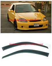 For 96-00 Civic EK Coupe Smoke Tinted CLIP ON JDM Side Window Visors Rain Guard