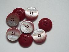 8pc 18mm Rosso con Argento Flash Cappotto Cardigan Camicia Pantalone Bambino pulsante 0316