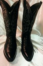 Top Grain Black Leather Justin Boots with 6 Row Fancy Stitching 1408 8.5EE Vtg.