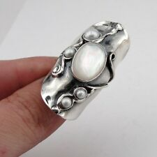 Pearl Silver Ring, Handcrafted 925 Silver Pearl Ring size 8.5, Long Ring, Mop