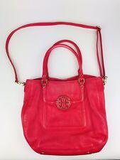 Tory Burch Amanda Classic Handle Large Hobo Bag Pink Red Crossbody Tote