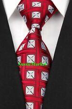 1 x mens tie silk necktie wedding party business fathers day gift burgundy red
