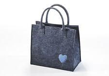Filztasche dunkelgrau mit blauer Herz-applikation