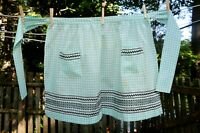 VTG 60's Aqua Embroidered Gingham Check Cotton Hostess Half Apron Ric Rack