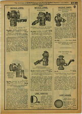 1918 ADVERT Acetylene Kerosene Oil Bicycle Lamp Old Sol Solar Everlit Generator