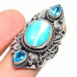 Tibetan Turquoise, Citrine 925 Sterling Silver Jewelry Ring Size 8.5