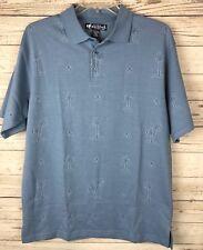 Big Dogs L Blue Textured Palm Trees Camp Hawaiian Travel Cruise Polo Shirt t2