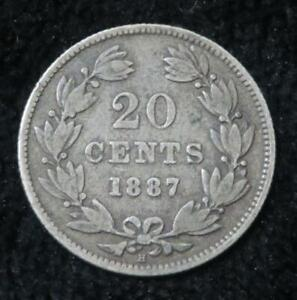 1887 20 Cents * Nicaragua * 80% Silver * Cool Looking World Coin * A043