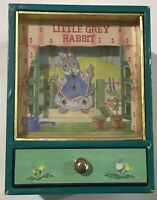 Retro 1980's Little Grey Rabbit Animated Music Box Made in Japan Easter Gift
