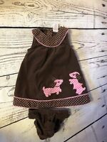 Gymboree Baby Girls Corduroy Dress with Bloomers Brown/Pink Dogs & Dots 6-12M