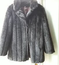 Ladies brown vintage faux fur coat size 14