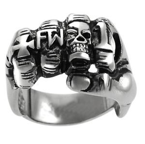 Men's Motorcycle Biker Rider Ring Harley FTW Cross %1 Outlaw Skull Thump 7-14