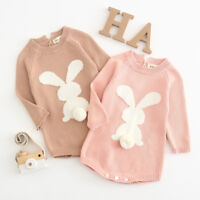 Newborn Baby Girl Cartoon Sweater Knit Tops Romper Jumpsuit Kids Outfit Clothes