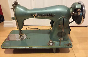 VINTAGE FIATELLI SEWING MACHINE BEAUTIFUL TURQUOISE JAPAN AS IS UNTESTED