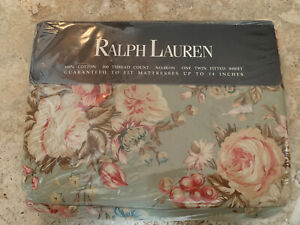 NEW Ralph Lauren Charlotte IV Twin Fitted Sheet(s) Vintage Green Floral