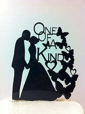 Silhouette Bride & Groom Kissing One of a Kind Butterfly Acrylic Wedding  Topper