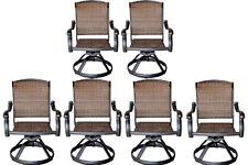 Patio outdoor Furniture Swivel Rocker Dining Chair set of 6 Cast aluminum Bronze