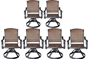 Wicker swivel rocker patio chairs set of 6 outdoor cast aluminum furniture