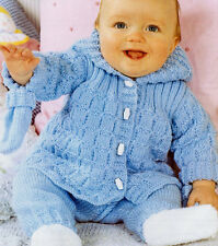 """Baby Jacket with Hood Trousers & Mitts 14"""" - 20"""" DK Knitting Pattern"""