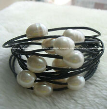 """UNIQUE! 15rows 7.5"""" freshwater pearl white egg bracelet &leather wholesale beads"""