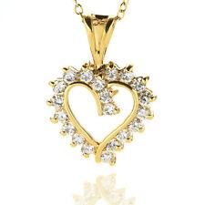 White CZ Heart Gold Pendant