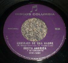 """Consejos De Una Madre Por Las Parrandas Dueto America~RARE Ranchera Latin 7"""""""