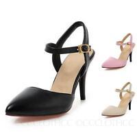 Womens Career Pointed Cap Toe Sandals Mid Heel Shoes Ladies High Heels Size