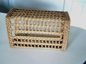 Tissue Box Cover RECTANGLE BROWN Wicker/bamboo? Bathroom Holder WOVEN Basket