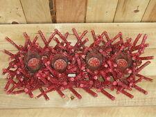 krasses großes Adventstablett, Adventsleuchter, Holz, bordeauxrot mit Glitter