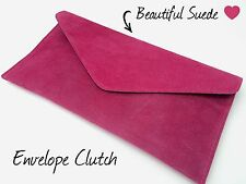 Fuchsia Pink Beautiful Suede Envelope Evening Clutch Bag - BRAND NEW