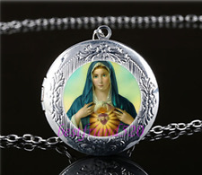 Virgin Mary Photo Glass Tibet Silver Chain Locket Pendant Necklace#T26