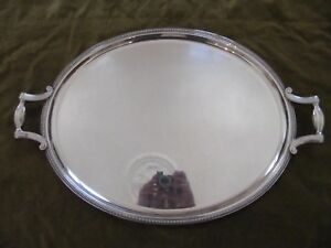 french silverplate large oval serving tray Christofle Gadroons Lauzun pattern