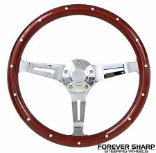 """69-93 Oldsmobile All Models 14"""" Euro Style Wood Chrome Steering Wheel w/ Adapter"""