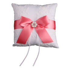 Bridal Wedding Ring Pillow Bearer Engagement Square Ring Cushion with Bowknot