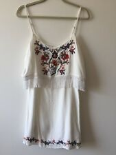ABERCROMBIE & FITCH WOMEN'S EMBROIDERED FRINGE OVERLAY WOVEN DRESS -- SMALL