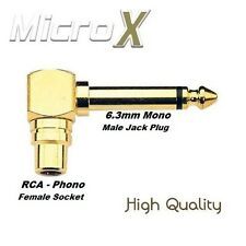 3 x GOLD Right Angled RCA Phono to 6.35mm MONO Jack Adaptor 6.3mm 1/4 Connector