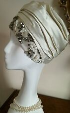 Authentic Christian Dior Chapeaux Vintage Cream Ivory Hat With Beads Stunning!