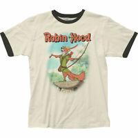 Authentic Disney's Robin Hood Movie Adult Soft Ringer T-shirt S M L X 2X top tee