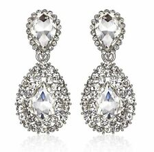 Halo Drop Silver Austrian Crystal Rhinestone Chandelier Dangle Earring Prom E117