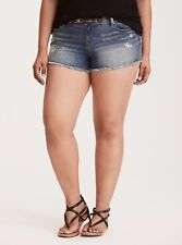 Torrid Skinny Short Shorts Medium Wash W/ Multi-Color Belt Sz: 24 #29931