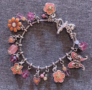 "Beautiful BRIGHTON Enameled Flower CHARM BRACELET ""Cote D 'Azur"" Pink & Coral"