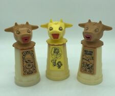 Vintage Whirley Industries Set of 3 Moo Cow Creamer Sippy Plastic Collectibles