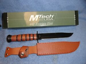 """MTECH USA 12"""" Fixed Blade 440 Stainless Steel Knife Leather Sheath MT-122"""